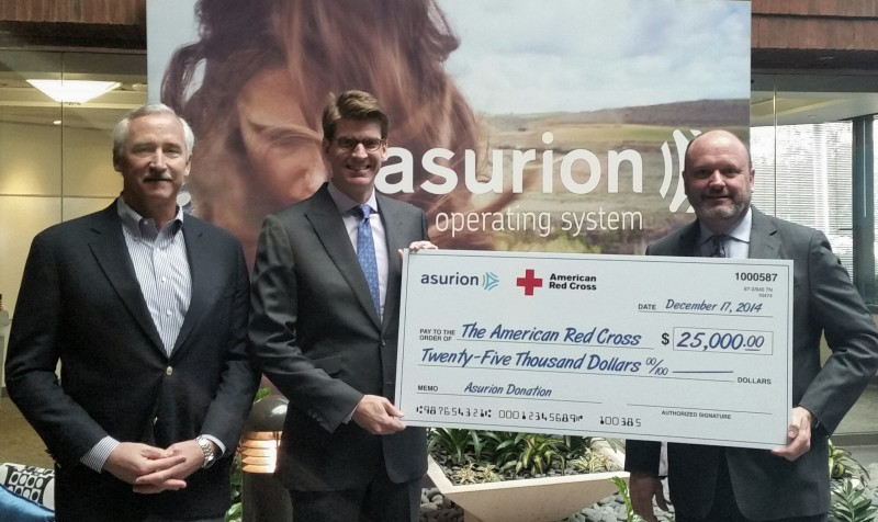 Pictured above (L to R): Mark Gunning, Asurion's SVP of Finance and Red Cross Board Member; Gus Puryear, Asurion's General Council and SVP HR; Joel Sullivan, Regional CEO for the American Red Cross