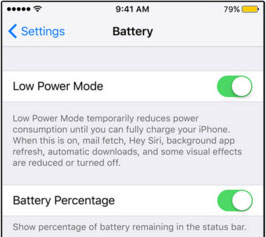 ios 9 low power setting