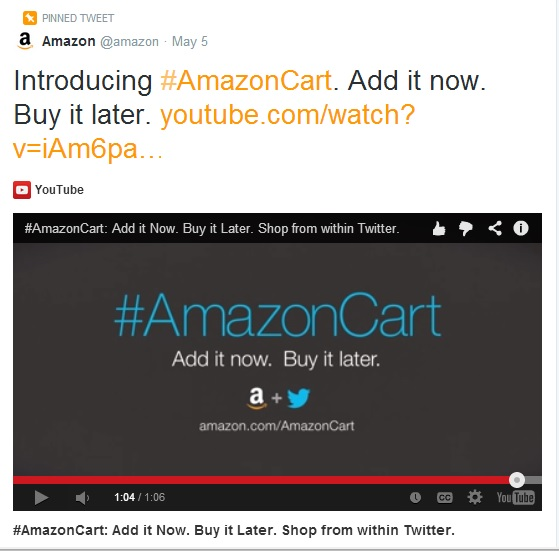 Amazon Lets You Shop From Twitter with #AmazonCart