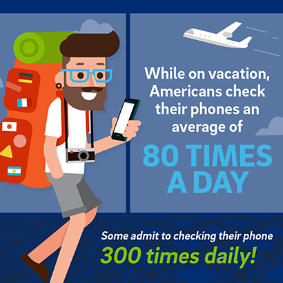 Tech Addiction Vacation Statistic Average Phone Usage