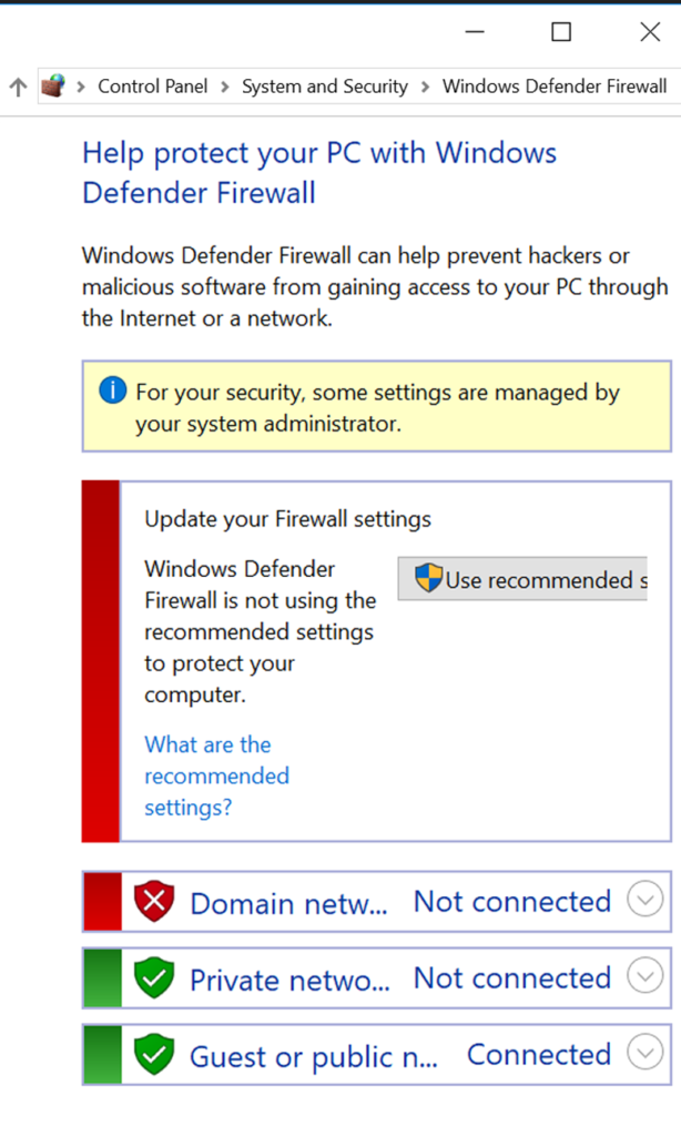 Public Firewall Settings