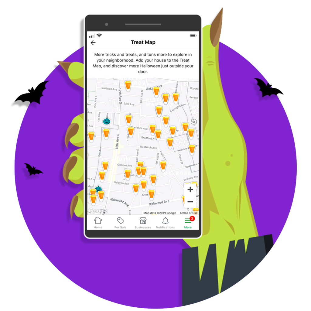 Nextdoor Treat Map for iPhone and Android