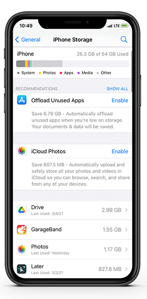 How to check iPhone storage space